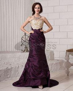 Ruffle Embroidery Beading Sweetheart Neckline Satin Women Evening Dress