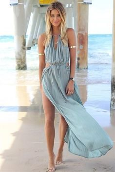 2014 Hot Fashion Summer Women Bandage V-Neck Beach Boho Maxi Sundress Long Dress | eBay