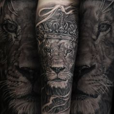 Lion portrait blackandgrey (bng) tattoo. inked man.