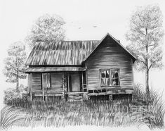 Title Abandoned House Artist Lena Auxier Medium Drawing - Pencil On Paper