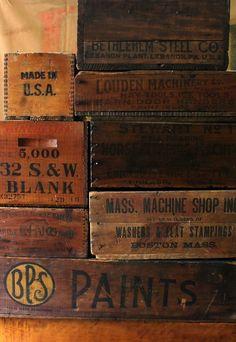 Vintage wooden crates