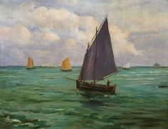 Hubert Emile Bellynck (French b. 1859), Sailboats at Sea, oil on canvas