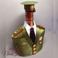 Подарочное оформление бутылок ручной работы. Ярмарка Мастеров - ручная работа. Купить Старший прапорщик. Чехол на бутылку. Подарок военному мужчине. Handmade.