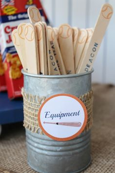PhotograVendor Credits: Party Styling & Printables: Crowning Details Cake: Obviously Orange Cookies:  Spacecitysweets.net Backdrop, Entrance Signage and Baseball Snack Stands: Created by Jackie...