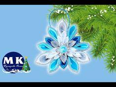 Мастер-класс Канзаши. Новогоднее украшение на елку. Снежинка Канзаши/Snowflake Kanzashi - YouTube
