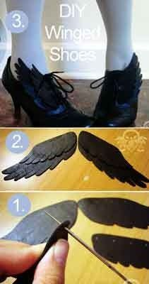 Shoes Oh, how I'd love to take off in these lovely winged shoes. What a wonderful DIY Fall Fashion idea. (free tutorial)Oh, how I'd love to take off in these lovely winged shoes. What a wonderful DIY Fall Fashion idea. Steampunk Accessoires, Diy Accessoires, Steampunk Diy, Diy Fashion, Ideias Fashion, Autumn Fashion, Fashion Tips, Fashion Ideas, Costume Ange