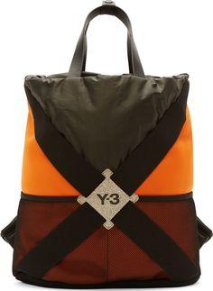 Y-3: Black & Orange Neoprene Harness Backpack