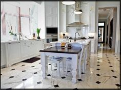 Black And White Kitchen Floor Tile Ideas - Decorating a kitchen may be a tiring and long job together with a very hard one, Marble Floor Kitchen, Best Flooring For Kitchen, Kitchen Tiles, New Kitchen, Floors Kitchen, Kitchen Black, Awesome Kitchen, Kitchen Cabinets, Kitchen Modern