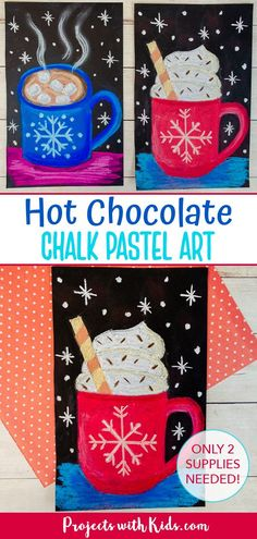 Kids will use chalk pastels and black paper to create this bold and bright hot chocolate art project! Easy to follow tutorial included. Winter Art Projects, Craft Projects For Kids, Arts And Crafts Projects, Kid Crafts, Chalk Pastel Art, Chalk Pastels, Painting For Kids, Art For Kids, Hot Chocolate Art