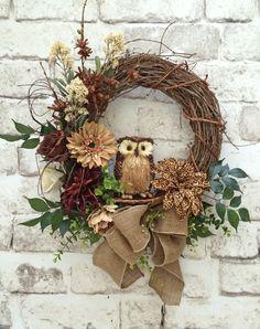 Leopard Floral Owl Wreath, Front Door Wreath, Neutral Wreath, Brown, Tan, Cream, Silk Floral Wreath, Grapevine Wreath, Burlap Bow Wreath, by Adorabella Wreaths!
