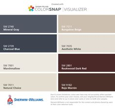 I found these colors with ColorSnap® Visualizer for iPhone by Sherwin-Williams: Mineral Gray (SW 2740), Charcoal Blue (SW 2739), Marshmallow (SW 7001), Natural Choice (SW 7011), Bungalow Beige (SW 7511), Aesthetic White (SW 7035), Rookwood Dark Red (SW 2801), Rojo Marrón (SW 9182).