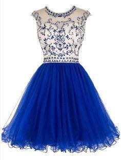 Open back Royal Blue Short Tulle homecoming prom dresses, CM0008