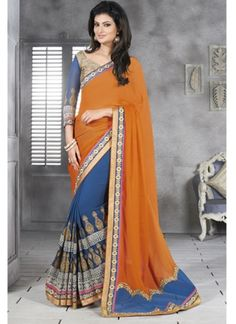 Blue and Orange Faux Georgette Designer Half N Half Saree#bollywood  http://www.angelnx.com/Sarees/Party-Wear-Sarees