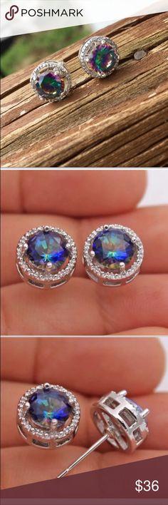 Dazzling Rond Rainbow Mystic Topaze Zircone Cubique Argent Stud Dangle Earrings
