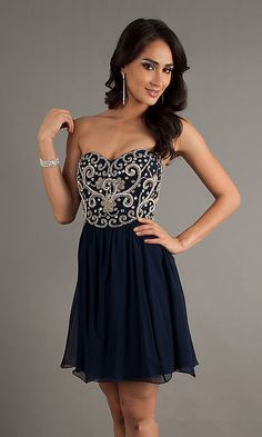 Short Navy Jeweled Strapless Homecoming Dresses 2013 Sale