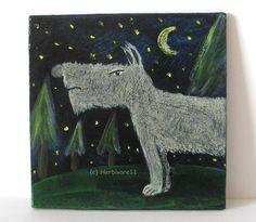 LEITWOLF AUF WACHPOSTEN von Herbivore11 Unikat Wolf Inchie kleine Kunst sammeln