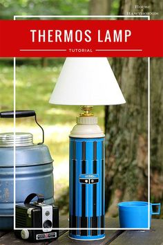 Super easy DIY tutorial for turning a thermos into a lamp upcycled crafts Funky Home Decor, Easy Home Decor, Cheap Home Decor, Cute Diy Projects, Project Ideas, Outdoor Light Fixtures, Outdoor Lighting, Upcycled Crafts, Repurposed