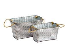 Set de 2 cestas/maceteros de metal