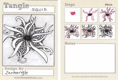 """Official Zentangle pattern: Squid [X] (I think she missed a good chance by not calling it """"Kraken""""). Category: Filler, free."""
