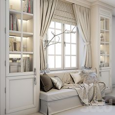 Soft area at the window – a sofa with pillows, blankets, curtains, cabinets and decor. Home Room Design, Home Office Design, Home Interior Design, House Design, Condo Living, Living Room Decor, Room Ideas Bedroom, Bedroom Decor, New Room