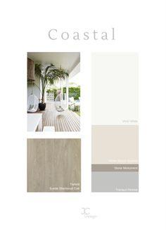 Coastal Colour Palette using Dulux colours. Design by Jessica Colvin Coastal Color Palettes, Coastal Colors, Colour Palettes, Colour Schemes, Dulux Exterior Colours, Exterior House Colors, Paint Colours, Room Colors, Painted Floors
