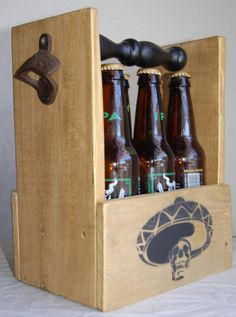 Beer Caddy Six Pack Beer Holder Bottle Carrier Bottle by WoodCore