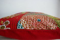 Red Floral Pillow in 26x26 by gypsya on Etsy, $34.00