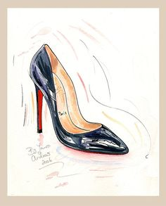 Fine Art PRINT of Christian Louboutin shoes painting 'Pigalle' 10x12""