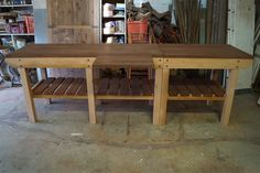 Custom built workbench that can be separated into two benches for versatility. Raw Furniture, Rustic Furniture, Furniture Making, Outdoor Furniture, Outdoor Decor, South Australia, Farmhouse Table, Benches, Home Decor