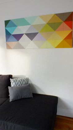 Move Ur Art - custom wall art - Ply, painted magnetic tiles can be rearranged on board to make custom geometric patterns. NZ made.