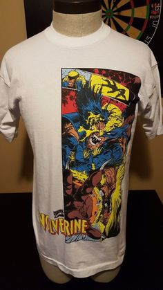 d48e18767c56 Vintage 90s 1995 Large Wolverine x Men T Shirt Marvel Comic Book Superhero