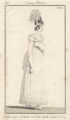 White gown with scalloped hem 1814 Costume parisien