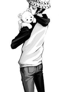 Trafalgar Law is hugging Bebo~ So cute! One Piece