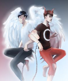 AmazingPhil and Danisnotonfire #armslinked #backtoback #wings<<< THIS IS SOOO COOL