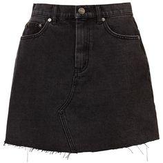 RIGID CUT OFF DENIM MINI (355 DKK) ❤ liked on Polyvore featuring skirts, mini skirts, denim cut offs, denim mini skirt, denim skirt and mini skirt