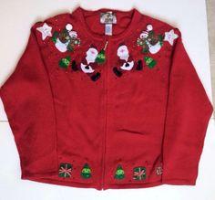 Ugly-CHRISTMAS-SWEATER-L-Red-Tiara-Snow-Man-Trees-Santa-SEQUINS-Zipper-Beads