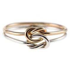 Double Knot Ring-Silver/Gold Mix by hoopsbyhand on Etsy https://www.etsy.com/listing/153331035/double-knot-ring-silvergold-mix