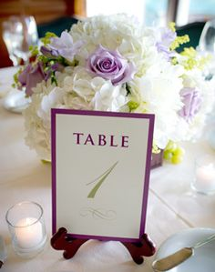 Purple and White Table Number and Centerpiece