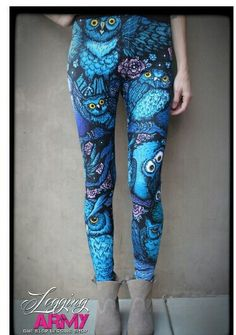 Sublimation- night owl Leggings available in kids adults and plus sizes