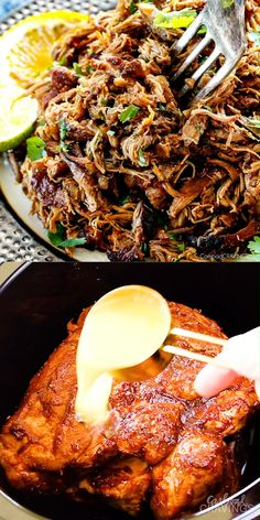 these are the BEST Pork Carnitas (Slow Cooker Mexican Pulled Pork) I have ever tried! Super juicy, easy and so much more flavorful than other versions I've tried and the crispy burnt ends are the best Meat Recipes, Mexican Food Recipes, Healthy Dinner Recipes, Cooking Recipes, Slow Cooker Recipes Mexican, Latin Food Recipes, Shredded Pork Recipes, Recipes Using Pork, Authentic Mexican Recipes