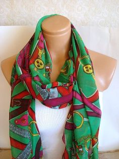 fashion scarf womans scarves green and black by AnatoliaDreams, $20.00