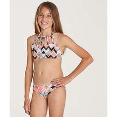 3ee363d31975 Billabong Little Girls' Zigginz High Neck Two Piece Swimsuit Set $39.99 Two  Piece Swimsuits,