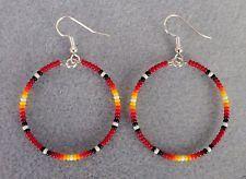 "Red Sunburst Beaded Silver Hoop Earrings 1.5""~Native American Made -Rita"