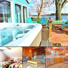 Lake Odessa Beach Cottage has cozy indoor living spaces and a stunning, four-season view of the water and surrounding landscape. Plan ahead for a family vacation at the beach! #bookdirect #travelmichigan #itscabintime