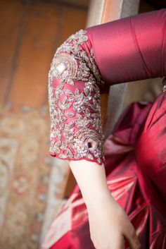 Bridal Details - Blouse Intricate Embroidery | WedMeGood #wedmegood