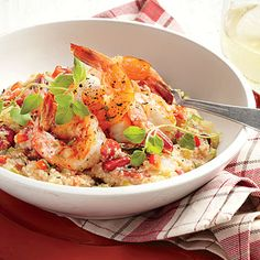 Spicy andouille, sautéed shrimp, and old-fashioned grits are the backbone of flavor for this One-Pot Shrimp and Grits. Avoid overcrowding the pot when cooking the shrimp so they will brown and cook through quickly.