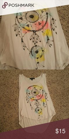 """Dream Catcher Tank Top Black Dream Catcher, pink, yellow, and blue """"paint splotches"""", higher in the front, longer in the back, great condition, very cute with shorts in summer or jeans and a cardigan in fall! living doll Tops Tank Tops"""