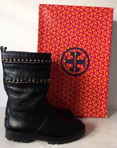 TORY BURCH Black CONNELL FIGUEIRA Leather Chain Flat Boots Size 6.5 MSRP $495 #ToryBurch #MidCalfBoots