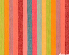 """Kaffe Fassett designed this striking striped yarn-dye comprised of gemstone hues, reminiscent of a breathtaking Sunset. Yarn-dye, wider stripes are about 5/8"""", 'Broad Stripe' from the 'Woven Stripes' collection by Kaffe Fassett. Via eQuilter.com"""