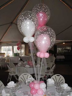 Balloons in Balloons Centerpiece Pink & White Balloons in Star Balloons Centerpieces